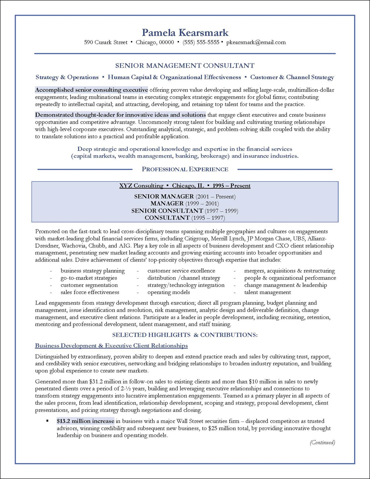 Management Consulting Resume Example - Examples of Resumes