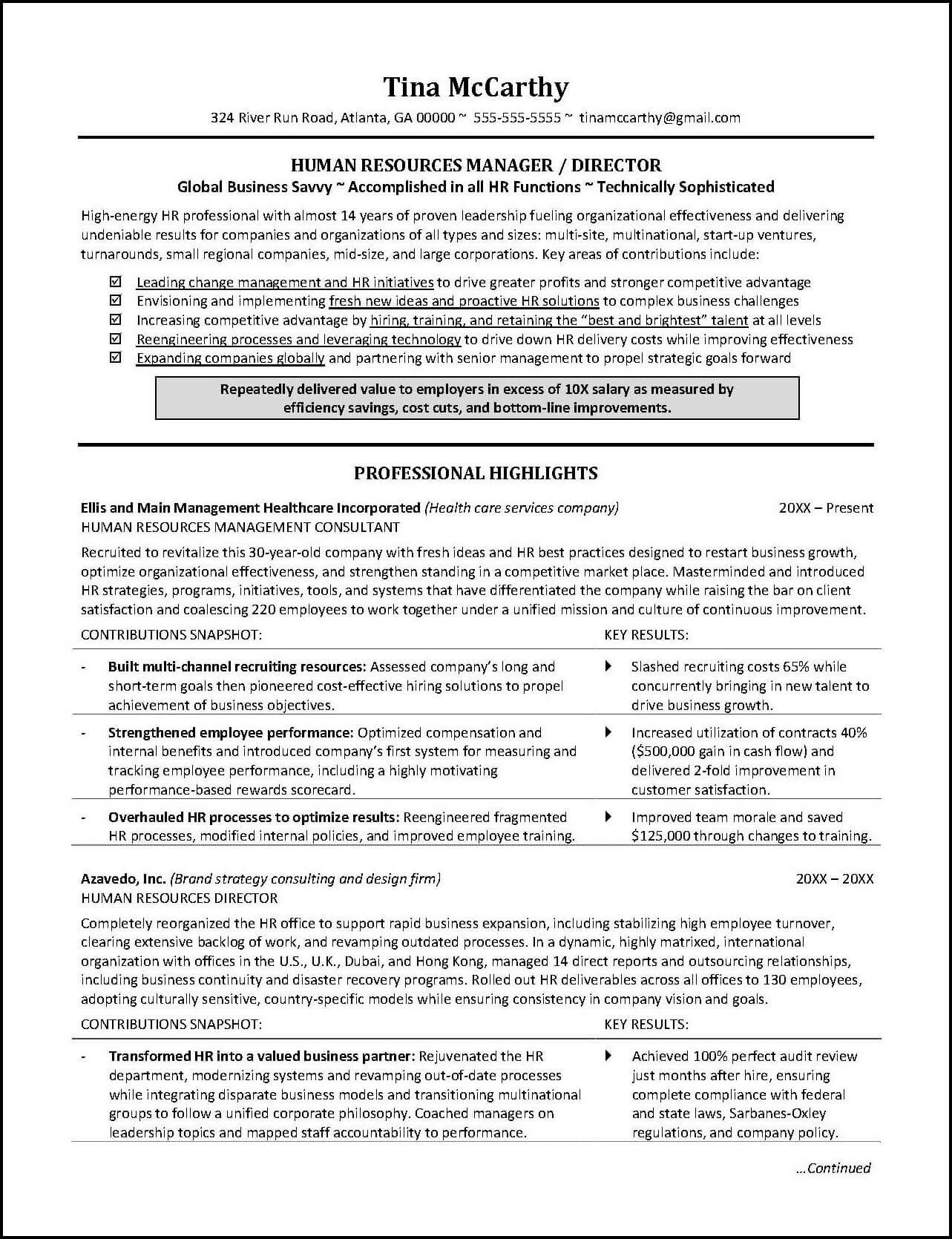 Powerful Human Resources Resume Example