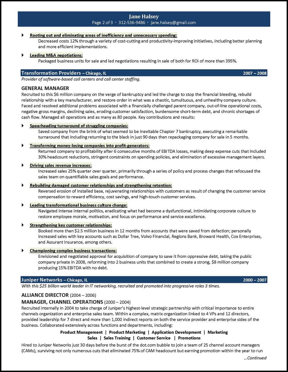 resume samples general manager
