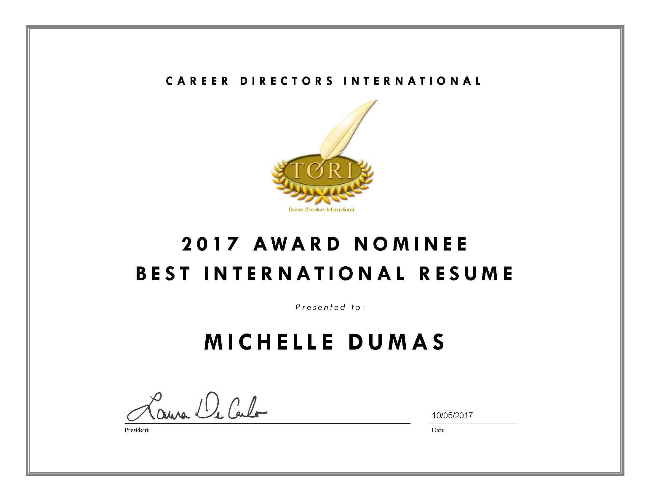 Michelle Dumas Nominated in Two Award Categories for CDI's