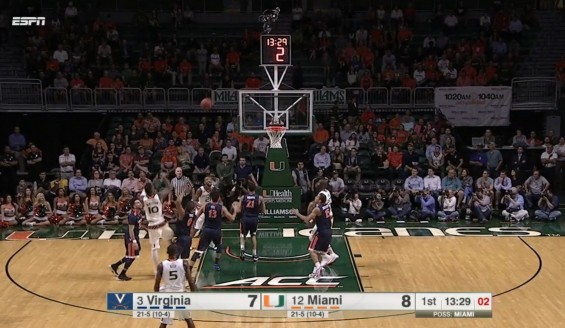 Miami's Sheldon McClellan (#10) takes a shot in a game against the Virginia Cavaliers in Coral Gables, Fla. / ESPN