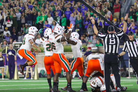 Miami players celebrate after taking the lead in the fourth quarter on a fumble recovery in the end zone. (hurricanesports)