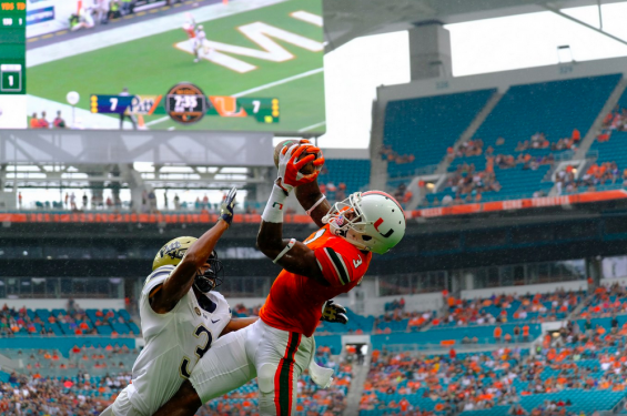 Stacy Coley pulls in a touchdown against Pittsburgh at Hard Rock Stadium in Miami Gardens.