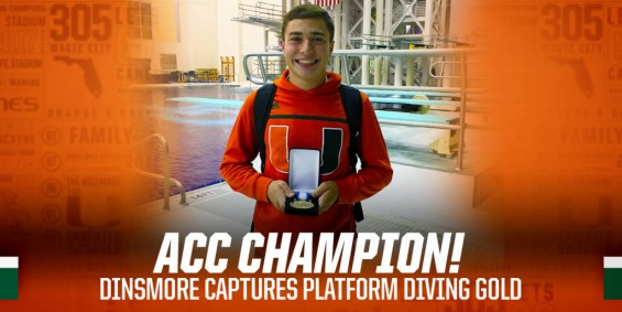 Miami diver David Dinsmore won gold in the men's platform. (hurricanesports)