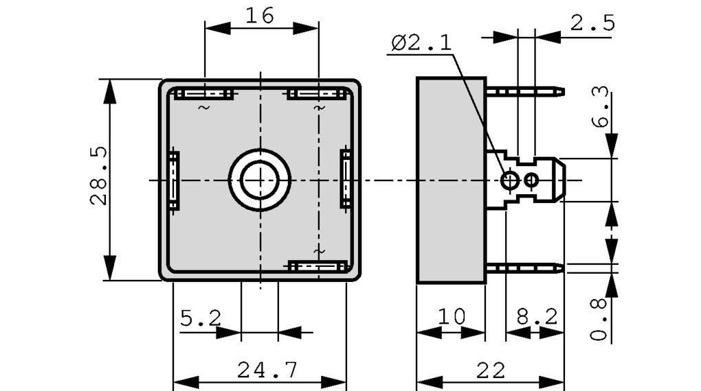 DB35-12 Bridge Rectifier 1200 V 35 A QUAD-28.5 Diotec