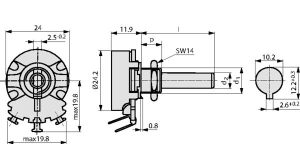 PD5WK0047 Potenziometro a filo, 5 kOhm, Linguette a