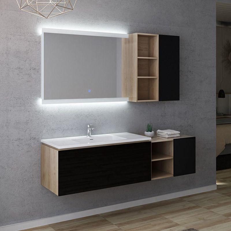 meuble de salle de bain alassio 1000 scandinave vintage noir