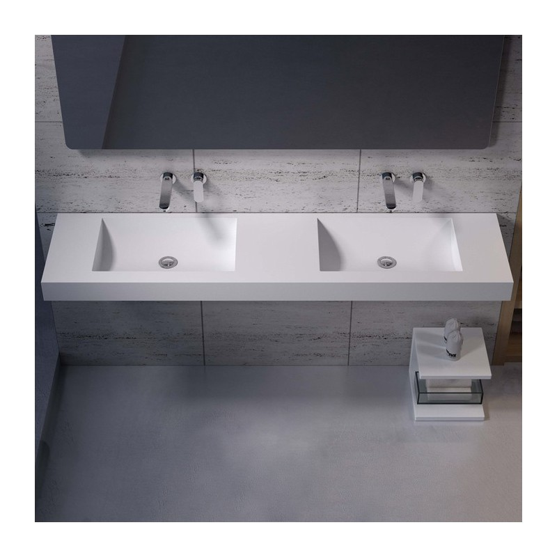 Double Plan Vasque En Solid Surface 164 Cm Plan Vasque En Solid Surface Ref Sdpw28