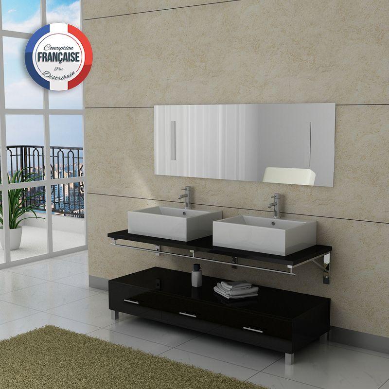 meuble salle de bain double vasque DIS985 noir  Distribain