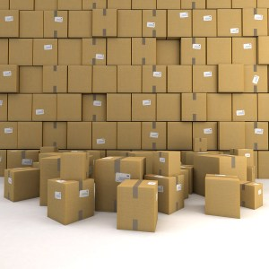 Huge pile of cardboard boxes, forming a wall, ideal for backgrou
