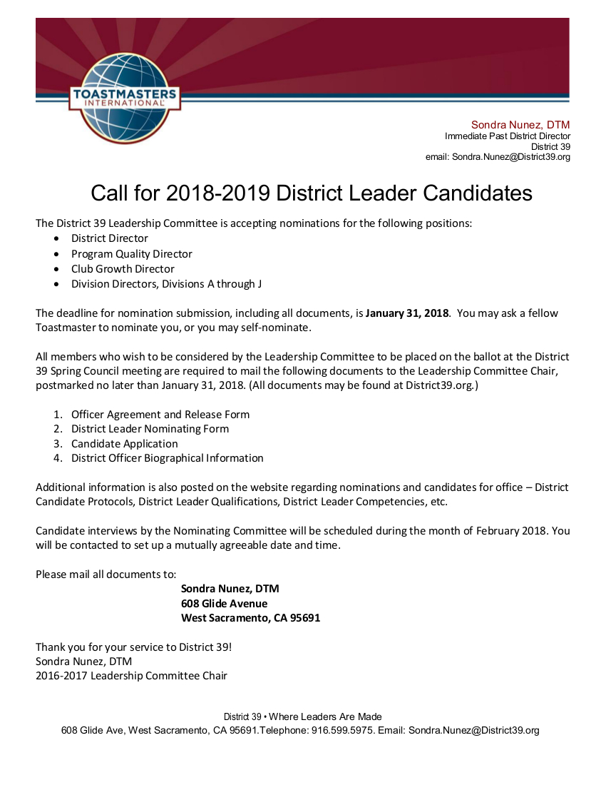 Call for 2018-2019 District Leader Candidates - District 39 Toastmasters
