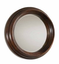 Uttermost - 01901 B Cristiano Round Dark Wood Mirror ...