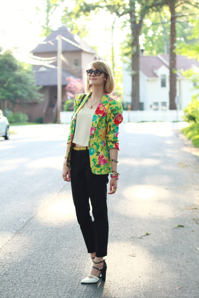 floral blazer and two-tone shoes