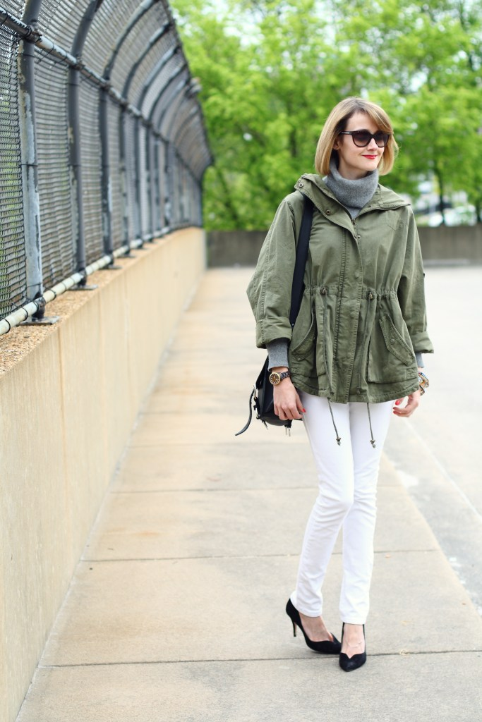 anorak and white denim
