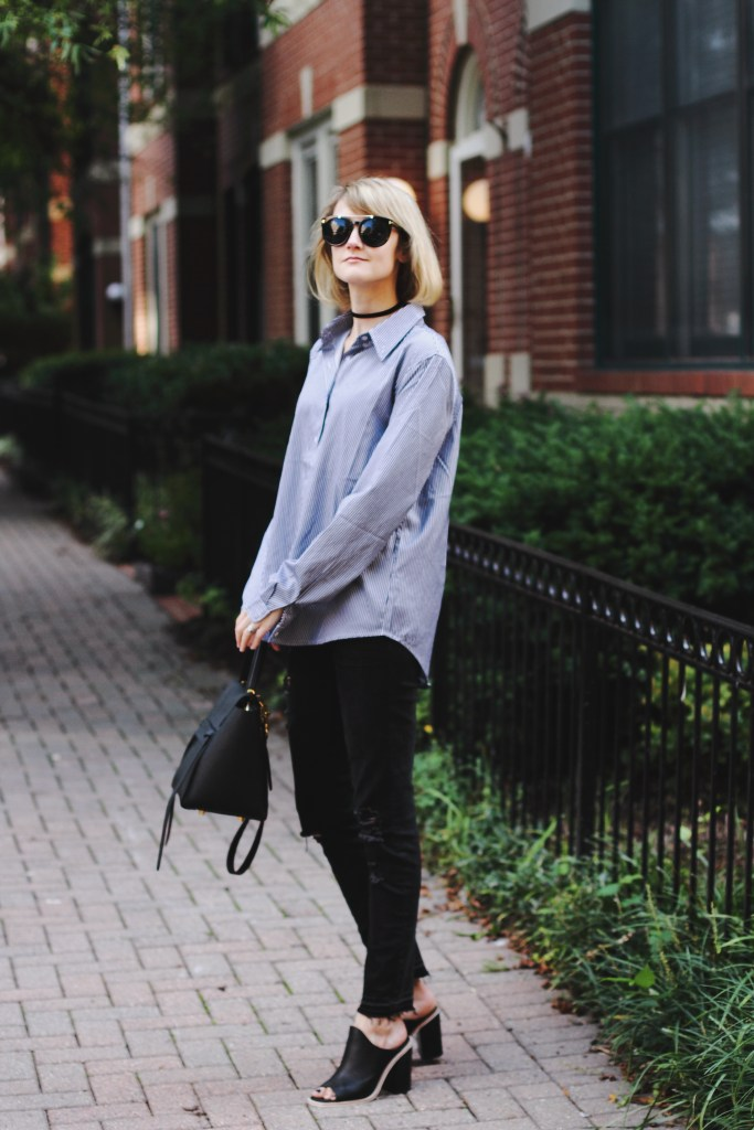 oversized button-down and distressed jeans