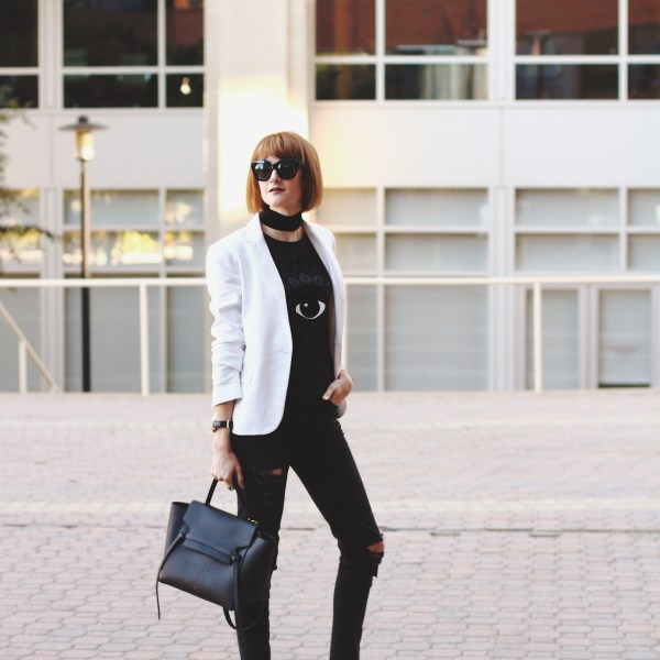 Kenzo t-shirt, white blazer and black denim