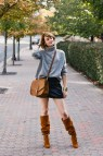 Skirt Sweater and Leather Boots