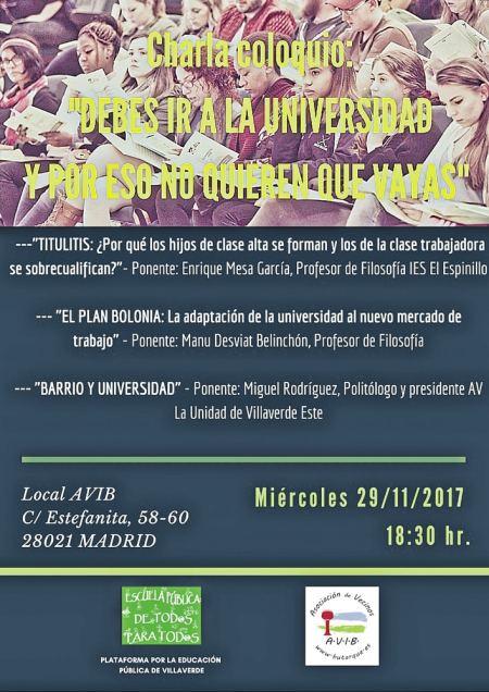 Charla sobre la universidad - Programa y ponentes