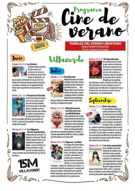Cartelera Cine de Verano en Villaverde