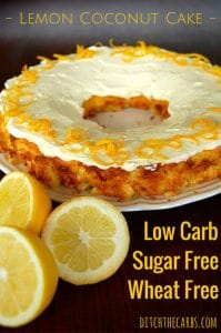 Low Carb Lemon Coconut cake | ditchthecarbs.com