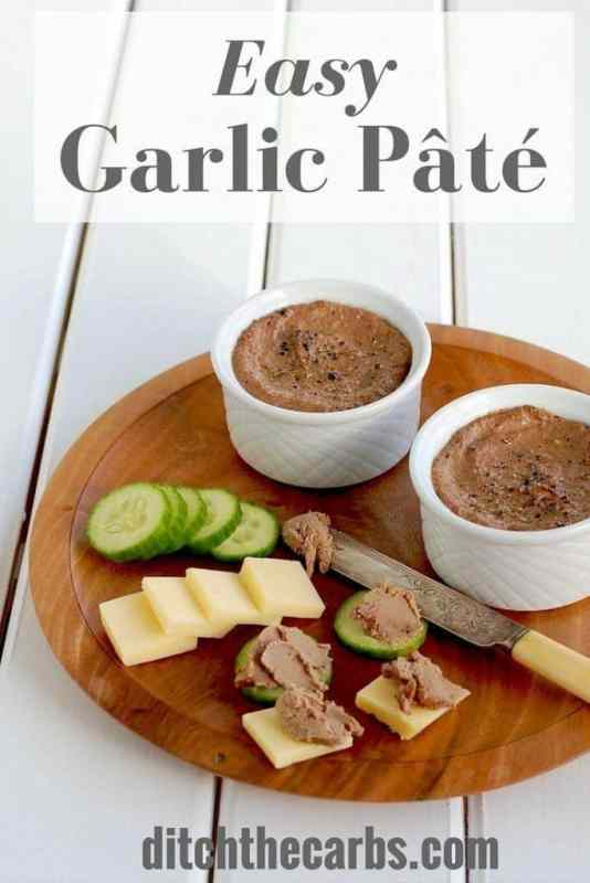 This is the easiest low carb garlic pate recipe around. Pin for later and learn how to make your own. | ditchthecarbs.com