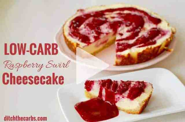 Incredible recipe for low-carb raspberry swirl cheesecake. It's gluten free, grain free, sugar free and perfect for dinner parties. #lchf #sugarfreecheesecake #ditchthecarbs #glutenfreecheesecake #ketocheesecake #healthydessert #summerbarbecuedessert #lowcarbcheesecake
