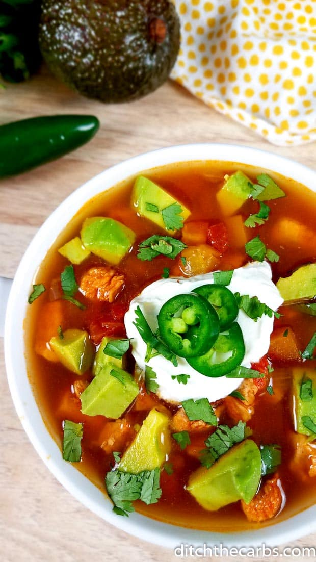Wow! Low-Carb Instant Pot Chicken Taco Soup! What a great healthy family meal. #ditchthecarbs #lowcarbinstantpot #ketosoup #glutenfreechickensoup #chickentacosoup #healthyinstantpot #glutenfreeinstantpot