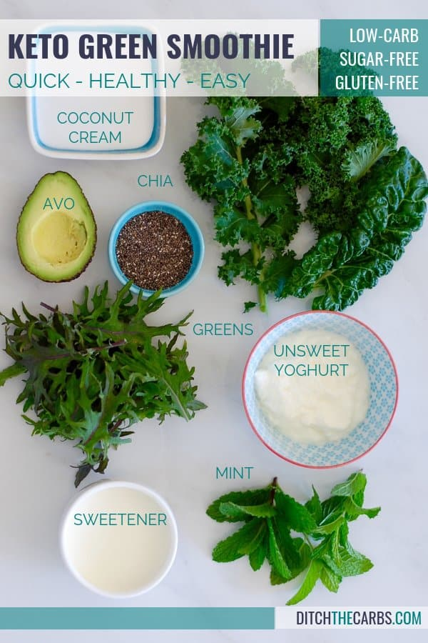 Start your day with a quick and easy keto green smoothie. #ketogreensmoothie #ketosmoothie #lowcarbsmoothie #sugarfreesmoothie #healthysmoothie