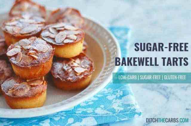Sugar-free Bakewell tarts (almond cupcakes) are a healthy sweet snack without ruining your low-carb plan. #lowcarb #sugarfree #glutenfree #healthybaking #sugarfreecupcakes #sugarfreebakewelltarts #sugarfreealmondcupcakes