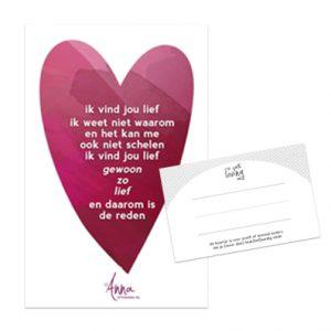 kaartje,formaat 55x85mm, gedicht,lief,valentijn,verrassen