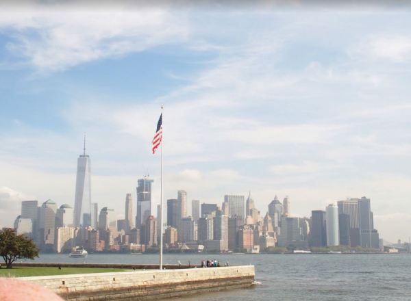 Met de boot naar het Liberty Statue; prachtig uitzicht op Manhattan!