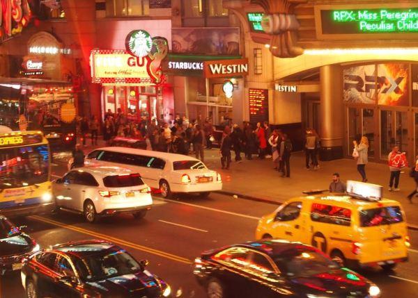 Het uitzicht vanuit Applebee's Times Square!