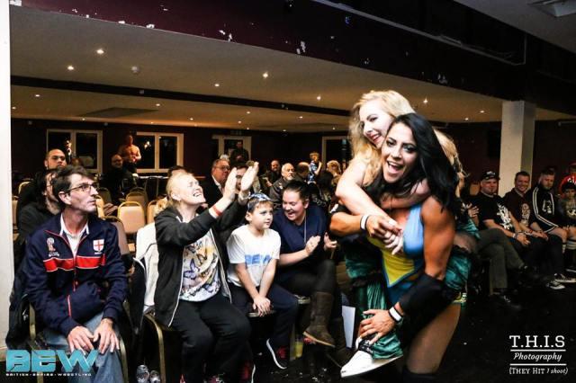 Camaraderie in action: KC Spinelli with Kat Von Kaige