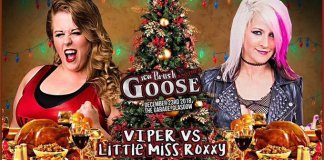 title card for viper vs little miss roxxy upcoming match at icw brush another goose