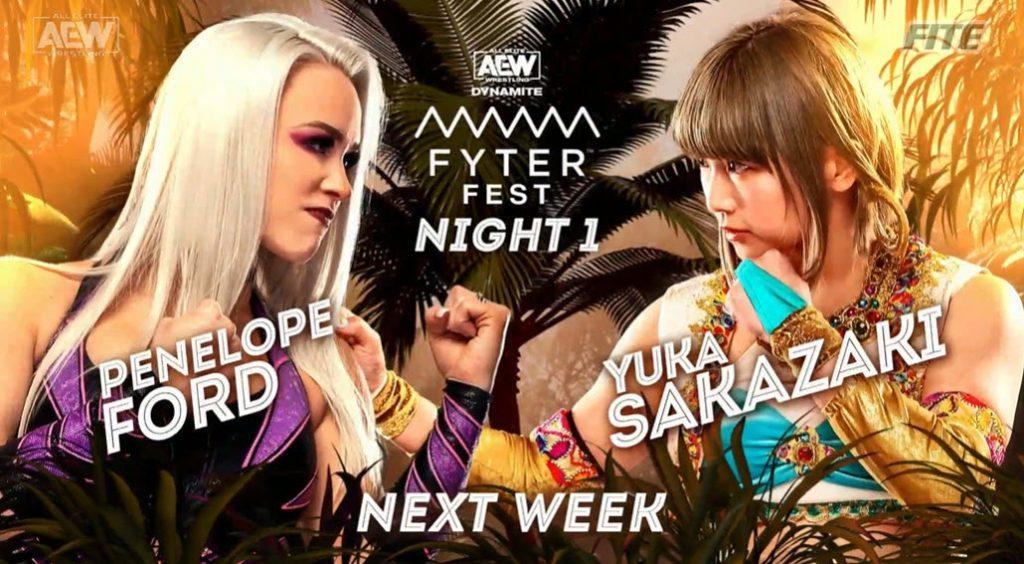Yuka Sakazaki returns to an AEW ring to face Penelope Ford at Fyter Fest Night One