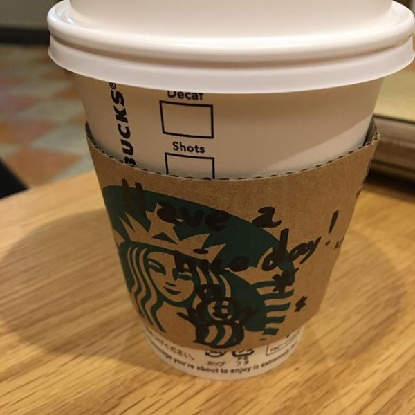 "Before the rehearsal,Stop by the Starbucks.""Have a nice day"" at a sleeve リハーサル前にスタバでブレイク。スリーブに""have a nice day""いいね - from Instagram"