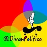 Aplicación logo @DivanPolitico con mano blanca