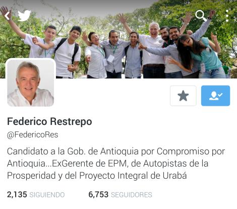 Cuenta de Twitter Federico Restrepo