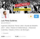 Cuenta de Twitter Luis Pérez