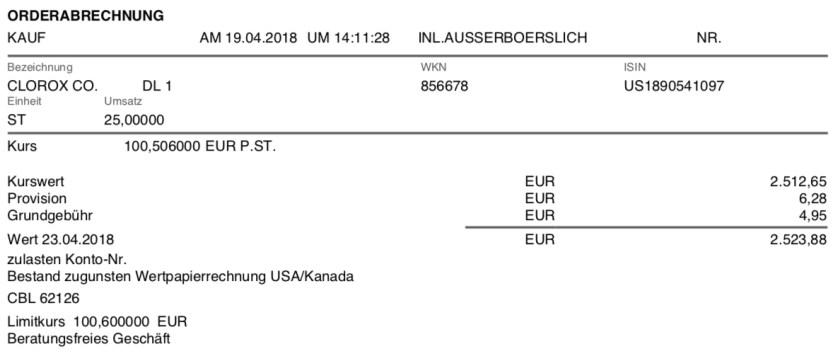 Die Originalabrechnung des Kaufs von Clorox im April 2018