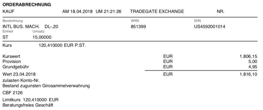 Die Originalabrechnung zum Kauf der IBM-Aktien im April 2018