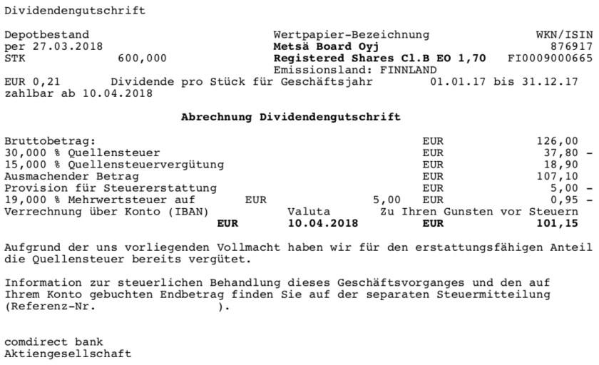 Die Original-Abrechnung der Dividende von Metsä Board im April 2018.