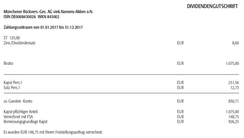 Die Abrechnung der Dividende der Munich Re im April 2018