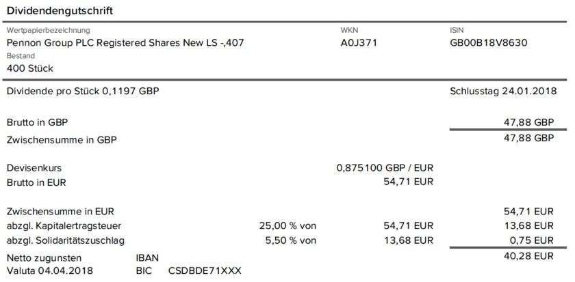 Die Original-Dividendenabrechnung der Pennon Group aus dem April 2018