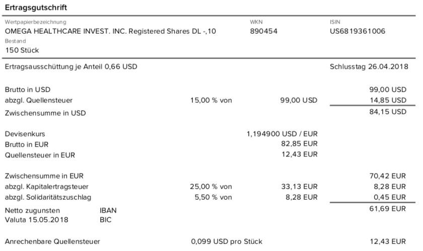 Die Originalabrechnung der Dividende von Omega Healthcare Investors im Mai 2018