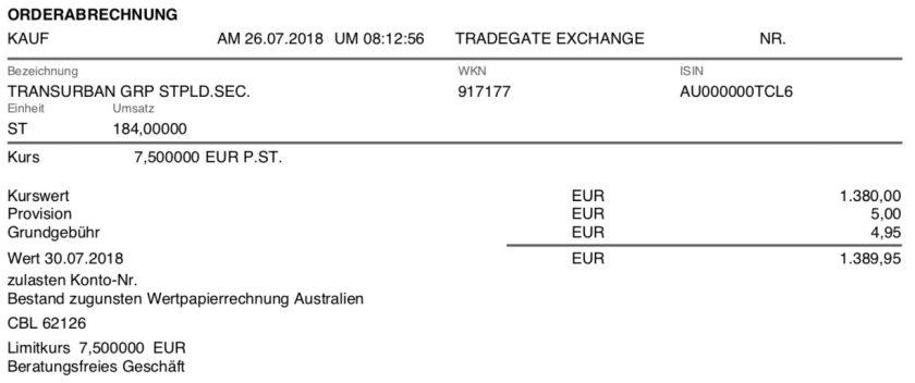 Die Originalabrechnung des Kaufs der Transurban Group im Juli 2018