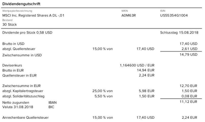 Die Originalabrechnung der Dividendenzahlung von MSCI Inc. im August 2018