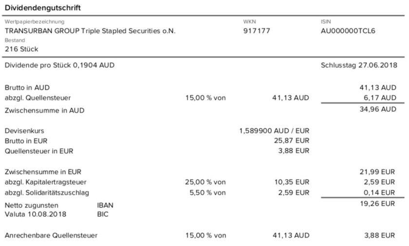 Die Original-Abrechnung der Mautstraßen-Dividende mit Quellensteuer