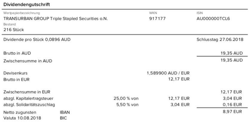 Die Originalabrechnung der Mautstraßen-Dividende ohne Quellensteuer