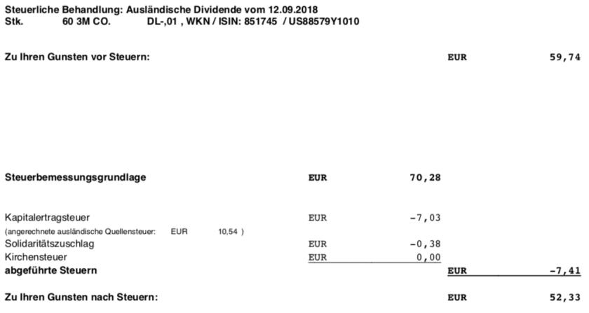 Die Originalabrechnung der Steuerabrechnung der 3M-Dividende im September 2018